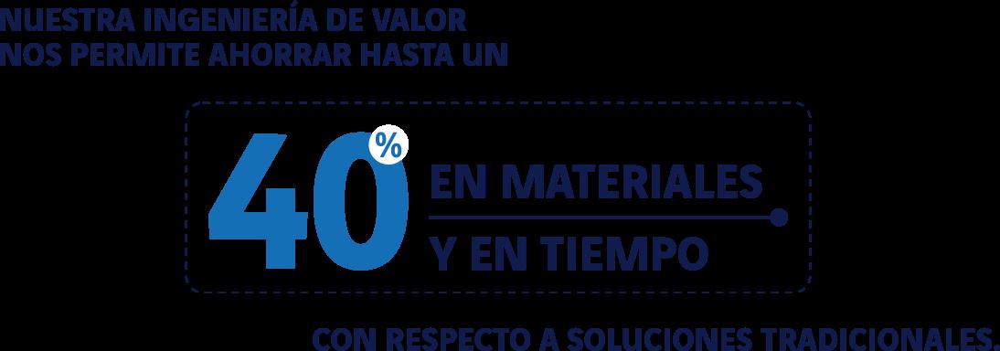 Nuestra ingeniería de valor nos permite ahorrar hasta un 40% en materiales tipo concreto y acero, y hasta un 40% de tiempo, con respecto a soluciones tradicionales.